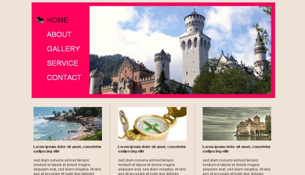 Free Travel Trips Pink Website Template