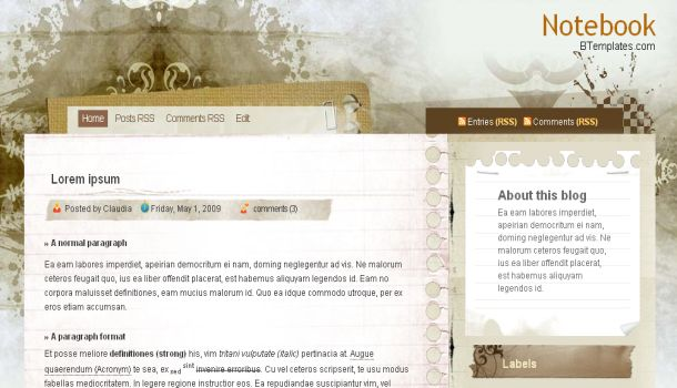 Free Notebook Art Web2.0 Blogger Template