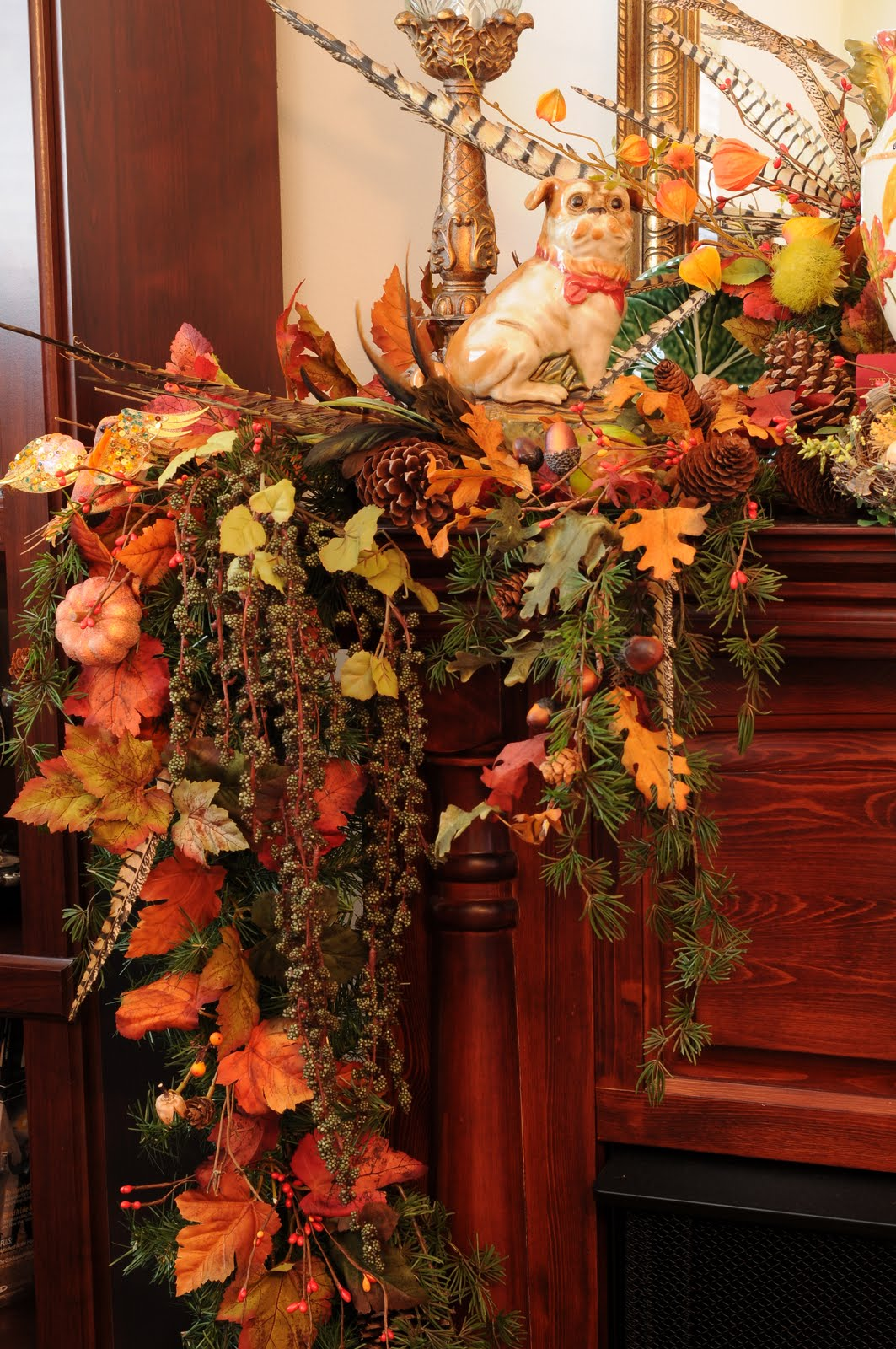 Sweet designs fall fireplace mantel decorating for Autumn flower decoration