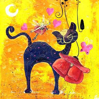 un chat bleu une fée qui lui dit bonjour un coquelicot qui le caresse une lune et de la magie, illustratrice laure phelipon