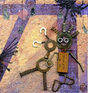 illustration des amoureux avec fond peinture acrylique et collage de pièces rouillées réccupérées pour une galerie d'art carré d'artiste