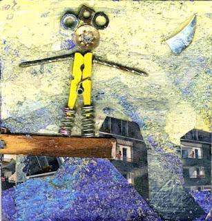 illustration de funambule au dessus d'une ville et de la montagne pour une galerie carré d'artiste