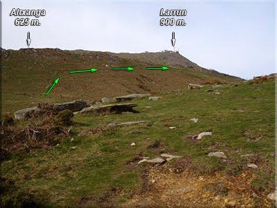 Primer plano de Altxanga, detrás asoma la cima de Larrun