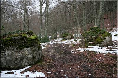 Grandes rocas jalonan nuestro camino