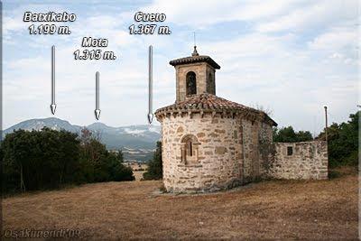 Iglesia de San Cornelio, detrás los montes de la Sierra de Arcena