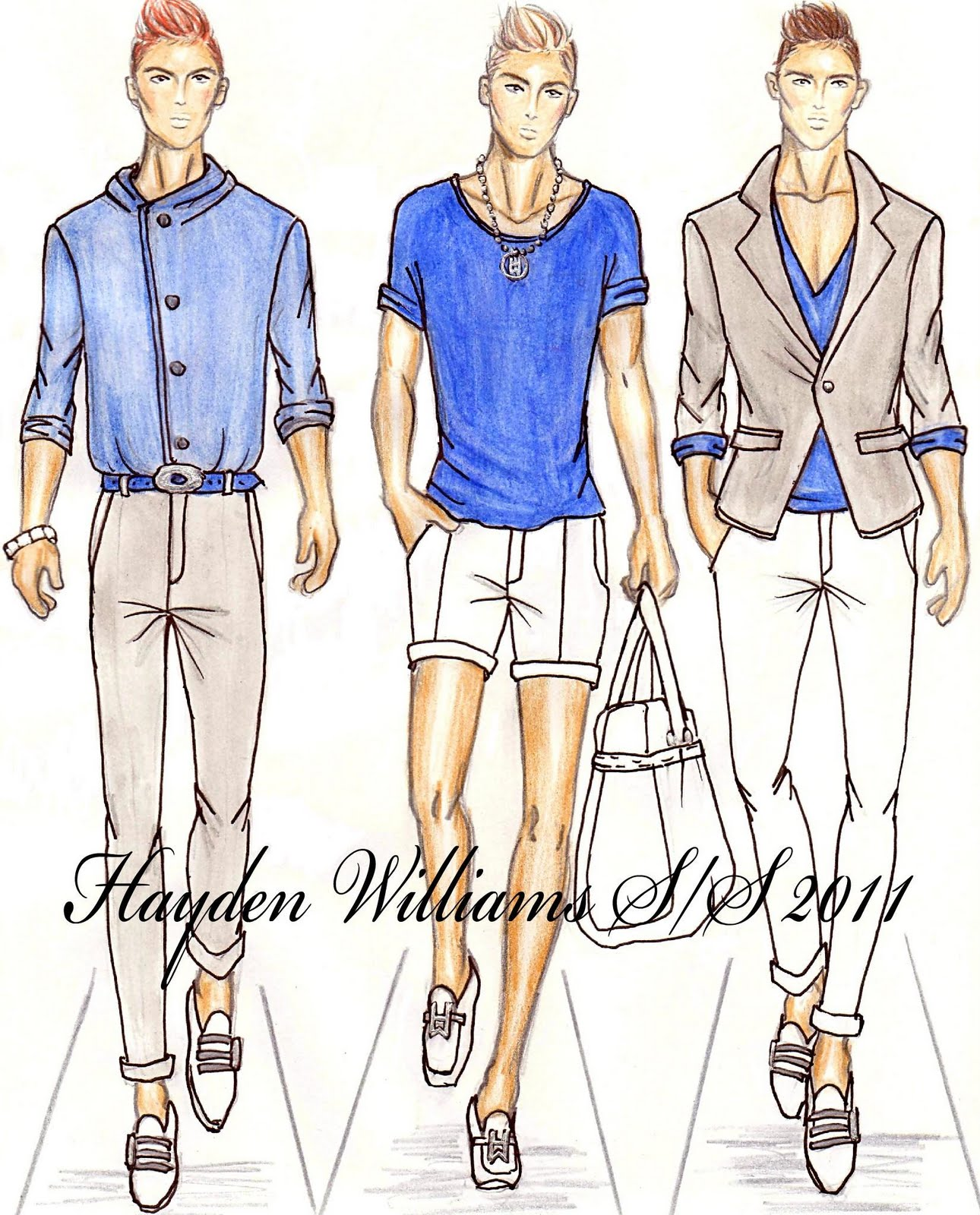 Illustration Fashion sketches for men catalog photo