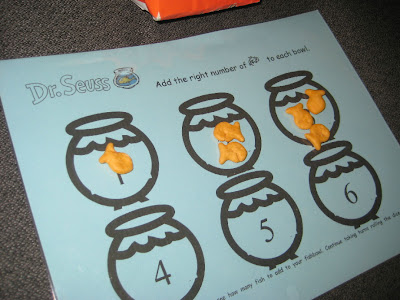 One Fish, Two Fish with goldfish  ` Dr seuss activities for kids {Weekend Links} from HowToHomeschoolMyChild.com