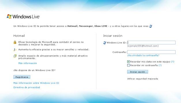 hotmail live correo: