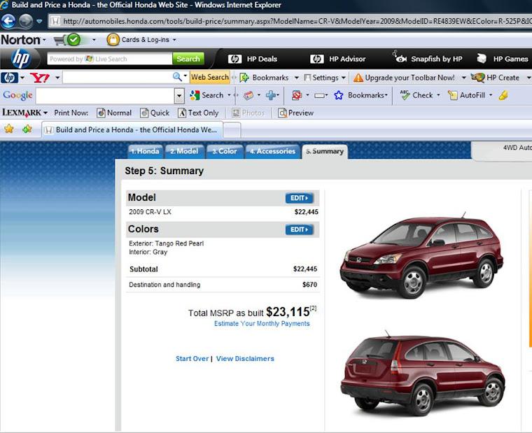 New 09 CRV= $23,115