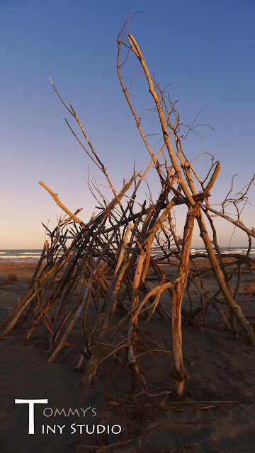 random structure on pines beach with a bit of sunset lighting