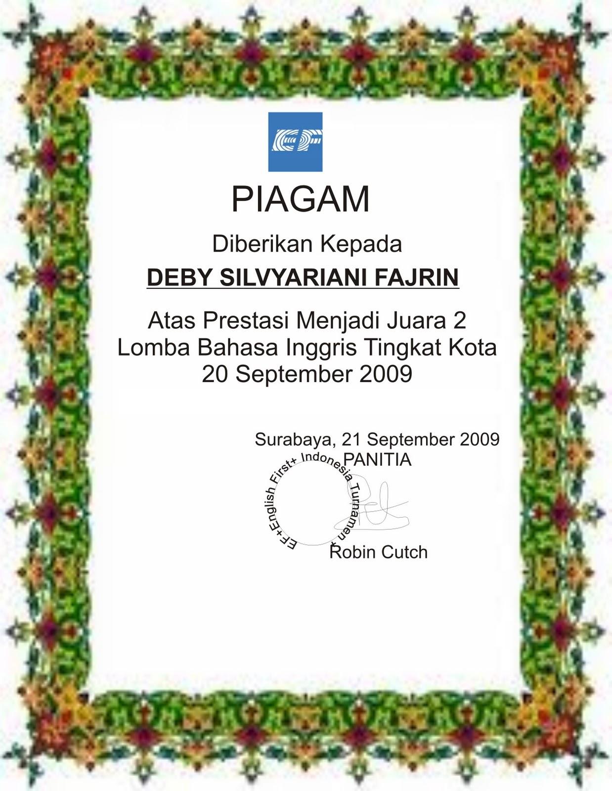 contoh sertifikat piagam
