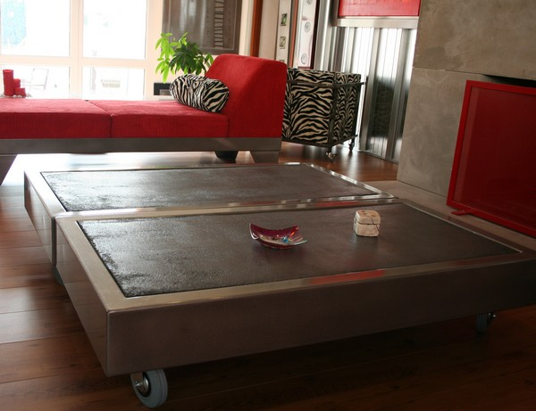 Table beton com la table basse b ton sur roulettes - Table basse sur roulette ...