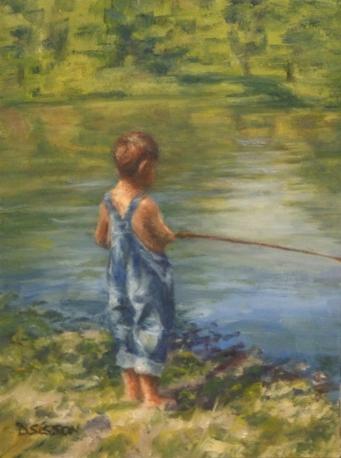 Daily painting projects young fisherman oil painting for Little boy fishing