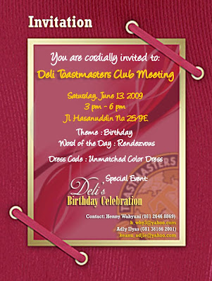 Toastmasters A La Carte Happy Birthday Deli Toastmasters Medan