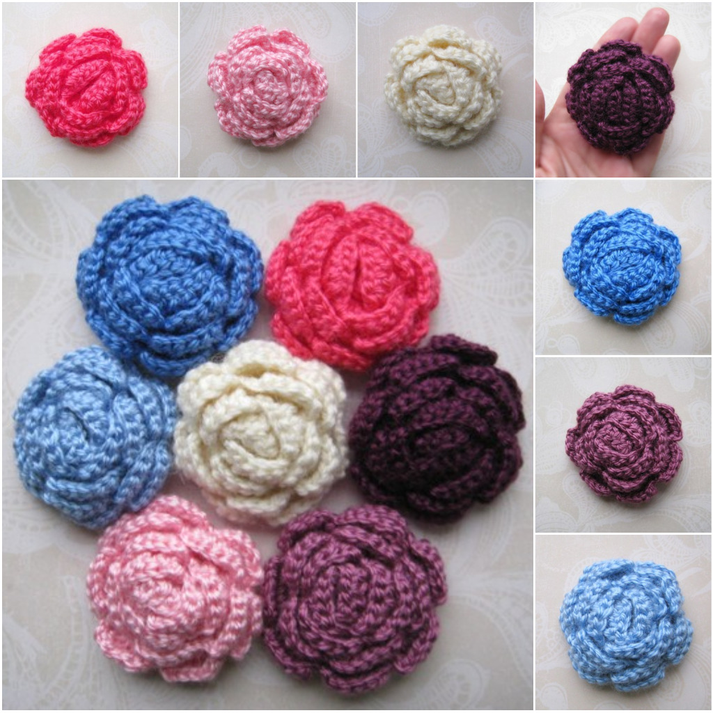 Crochet New : Beautiful 3D Crochet Flowers perfect decoration for hats,scarfs, hair ...