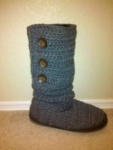 Free Crochet Patterns For Boots : BOOT SLIPPER PATTERN - FREE PATTERNS