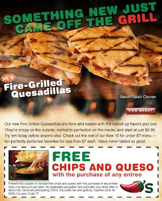 picture relating to Chilis Menu Printable called Printable Chilis Coupon codes