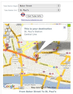 London Tube Widget destination