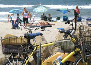 Bike power at the beach with a shimmering simmering backdrop