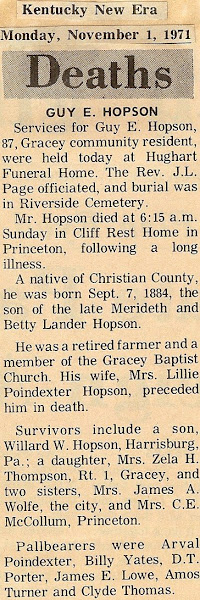 Guy's obituary, 1971