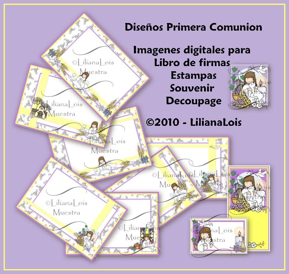 Mi Primera Comunion lila y amarillo - My Holy First Comunion Purple