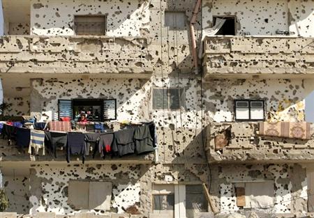 roupa estendida em Gaza