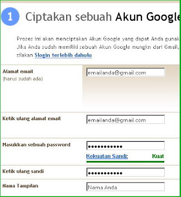 Ciptakan Account Blog