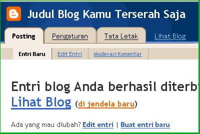 Entri Blog Anda Berhasil Diterbitkan