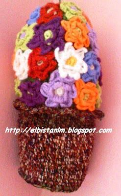 örgü çiçek saksısı poşetlik