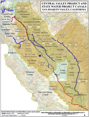 California Central Valley Project Overlaid with Stressed California Counties