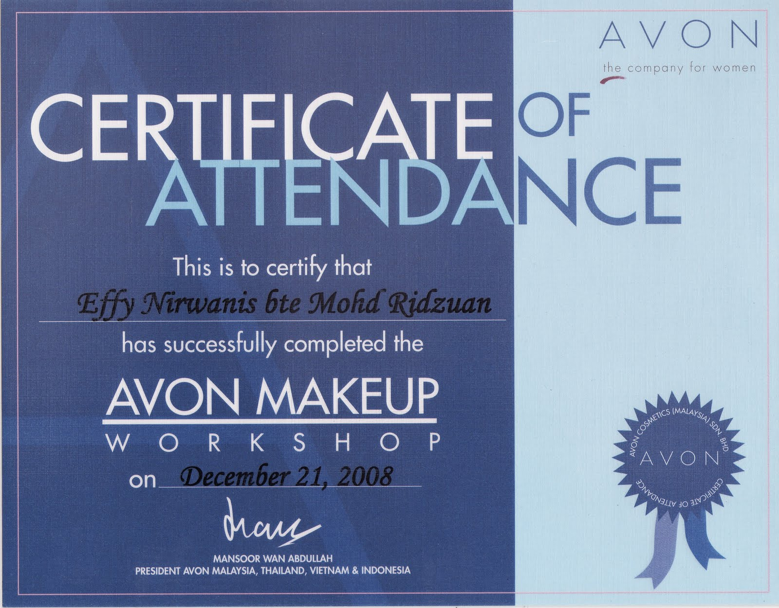 Sample certificate attendance workshop choice image certificate fiffy irwany make up workshop certificate of attendance yadclub choice image yadclub Images