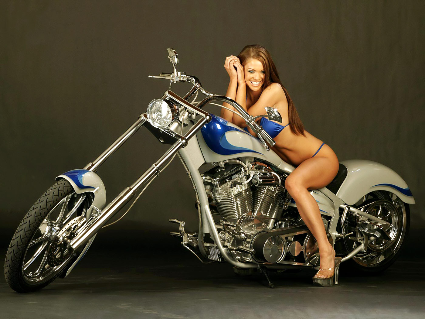 sexy girl with motorcycle desktop