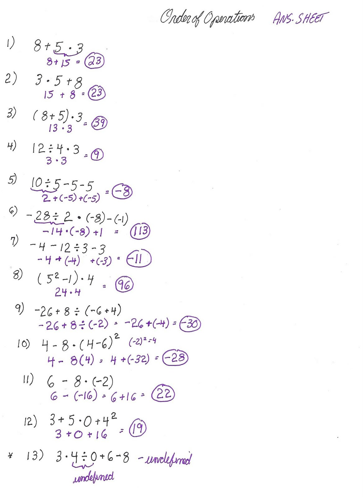 Cobb Adult Ed Math: Order of Operations Worksheet Solutions