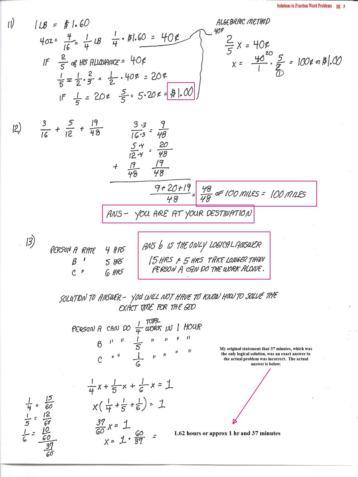 Cobb Adult Ed Math Answers to original fraction word problems – Fraction Problem Solving Worksheets