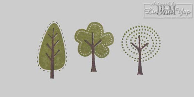 Stampin' Up! Trendy Trees foliage first with misaligned trunks