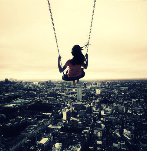girl on swing above -#main