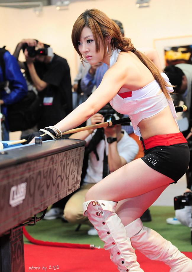 Model Hwang Mi Hee Playing Pool Photoshoot