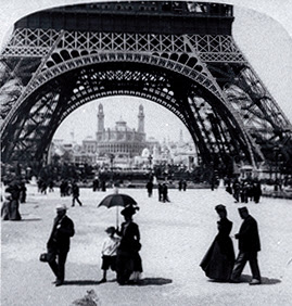Looking through the Eiffel Tower to the Trocadero and Colonial Section, Paris Exposition, 1900, Library of Congress