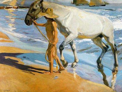 Sorolla, El baño del caballo, 1909