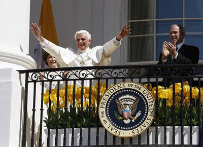 Pope Benedict XVI with President George W. Bush and Laura Bush at the White House (photo: The White House)