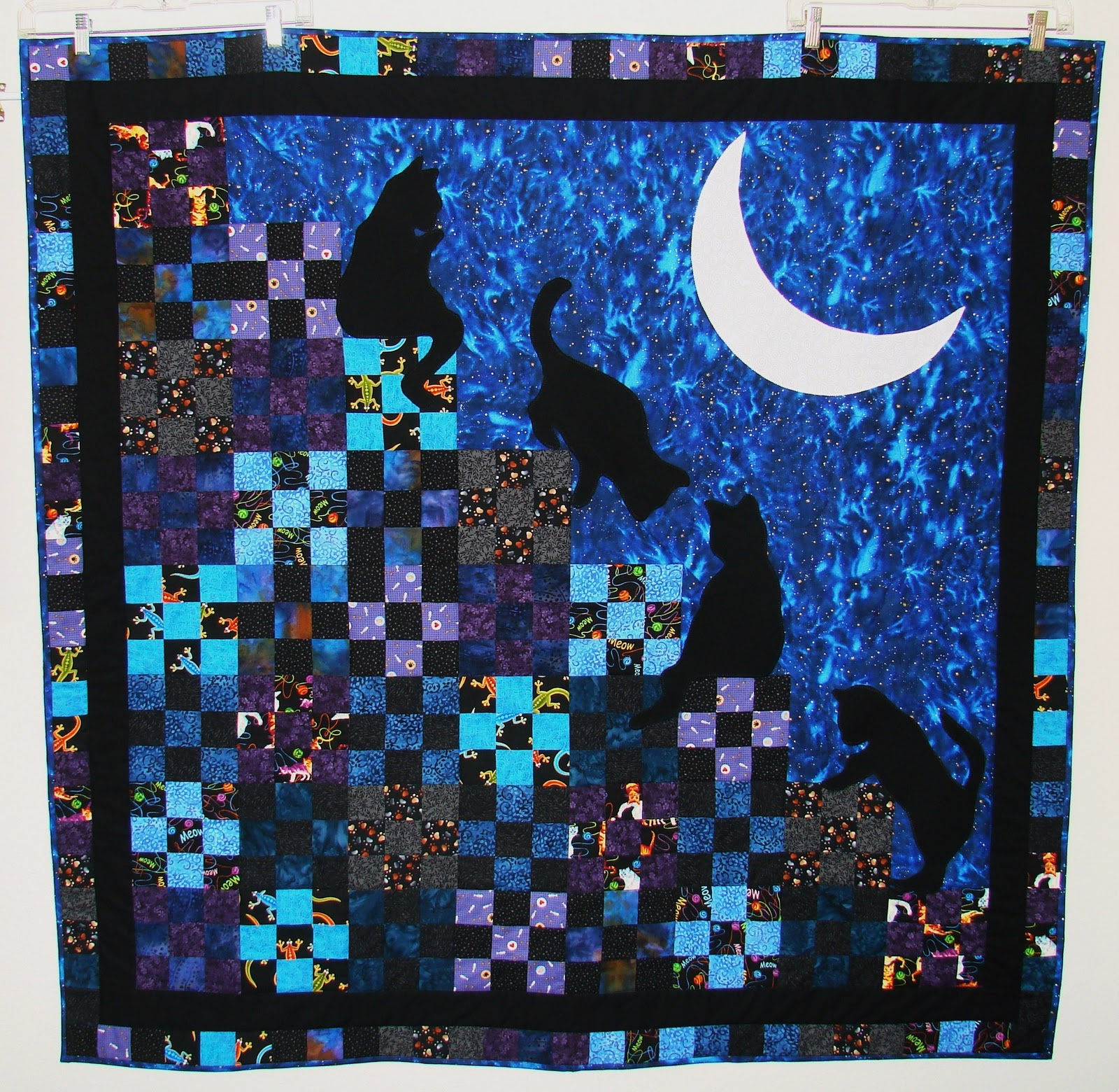 Anyway, The Pattern Is By McCalls And Is Called Stairway To Cat Heaven. The  Cats Are Hand Appliqued And The Moon Is Machine Appliqued.