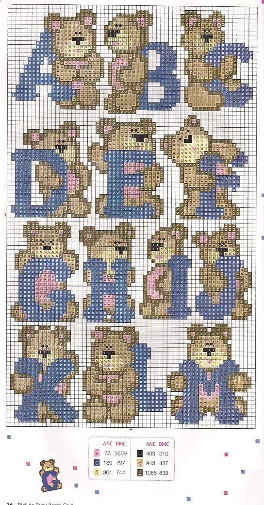 Monograma De Ursinhos Em Ponto Cruz