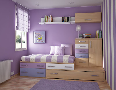 Girl-child-room-with-purple-carpet-small-wardrobe-and-drawers-under-bed