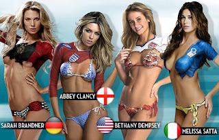 Quatro belas mulheres de jogadores.