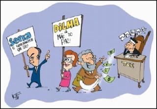 Charge. Lula em campanha pela Dilma.