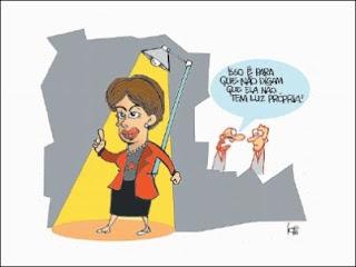Dilma agora com luz própria. Charge.