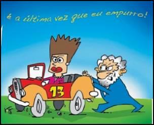 Lula da uma força para Dilma. Charge Variadades em Palavras