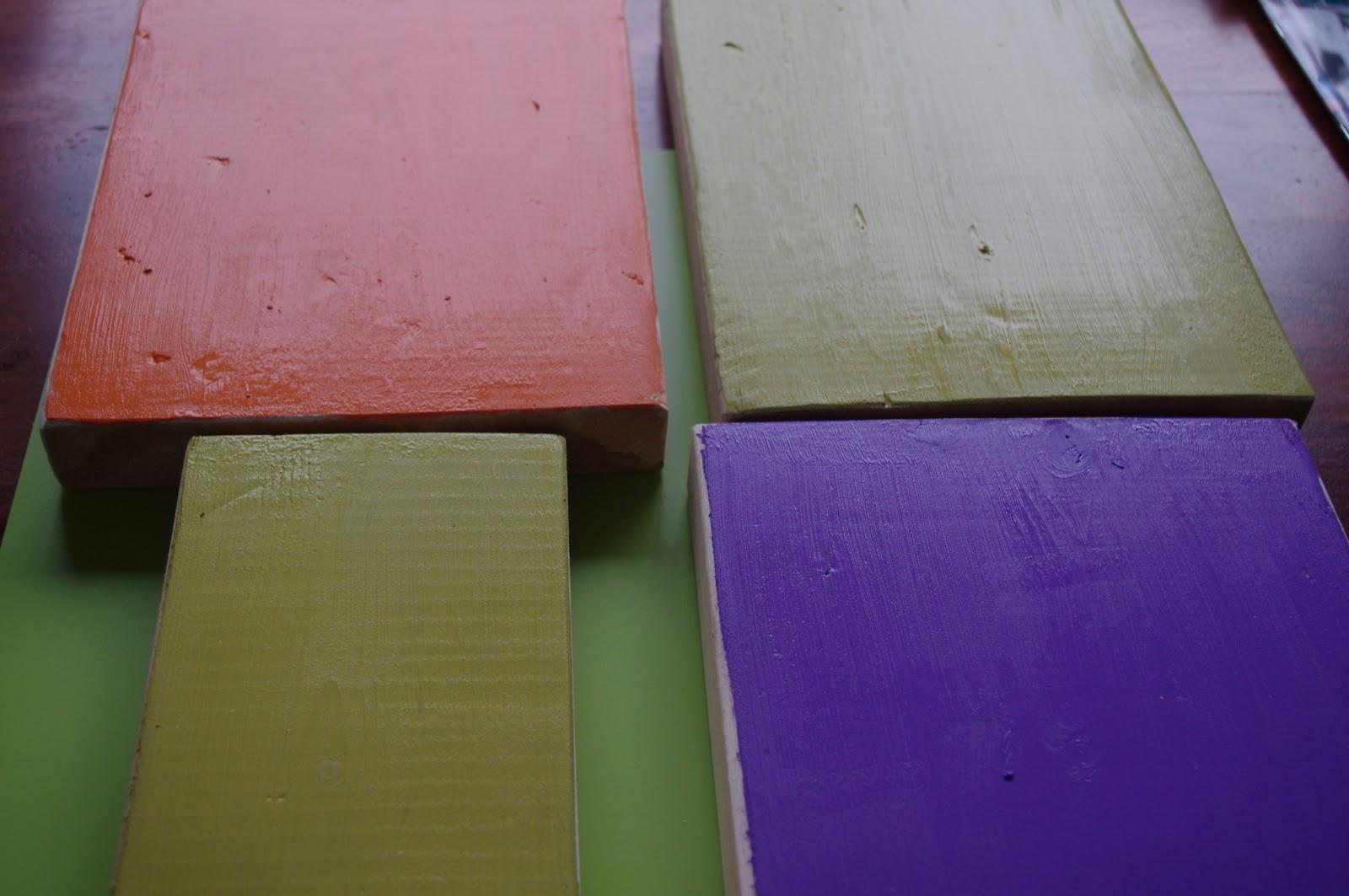 Next, I painted the blocks. I used orange, lavender (purple) and pear ...