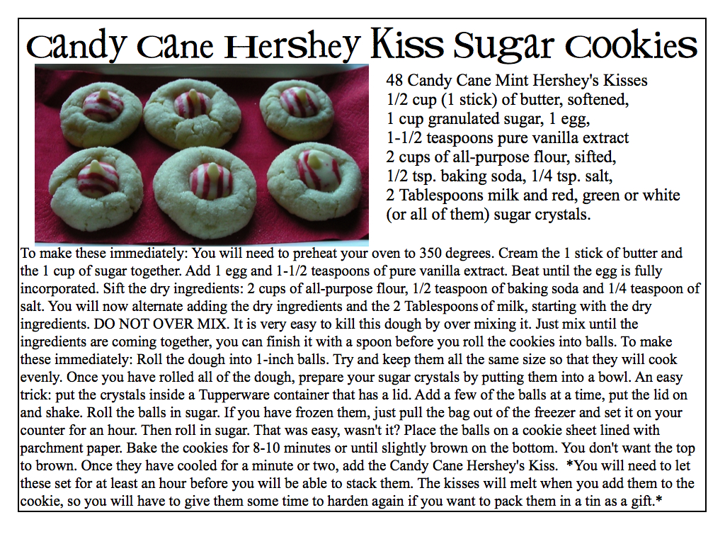 Creative Try Als Candy Cane Hershey Kiss Sugar Cookie Recipe