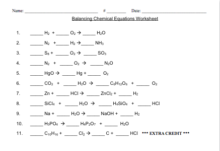 Balanced And Unbalanced Chemical Equations Worksheet Free ...